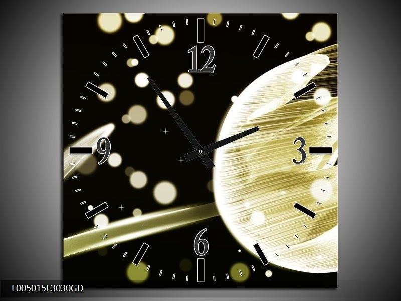 Wandklok op Glas Tulp | Kleur: Geel, Zwart | F005015CGD