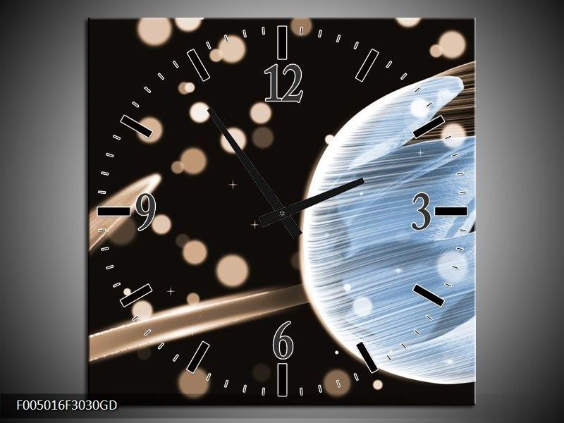 Wandklok op Glas Tulp | Kleur: Blauw, Zwart | F005016CGD