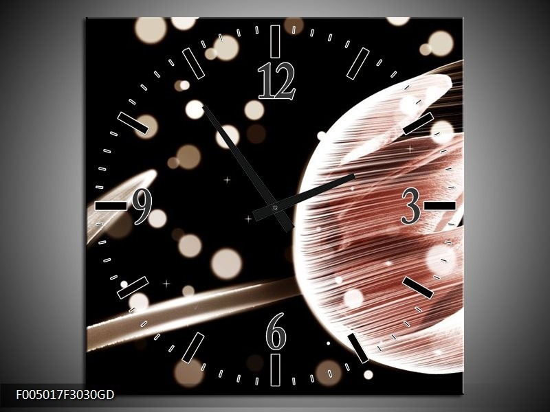 Wandklok op Glas Tulp   Kleur: Bruin, Zwart   F005017CGD