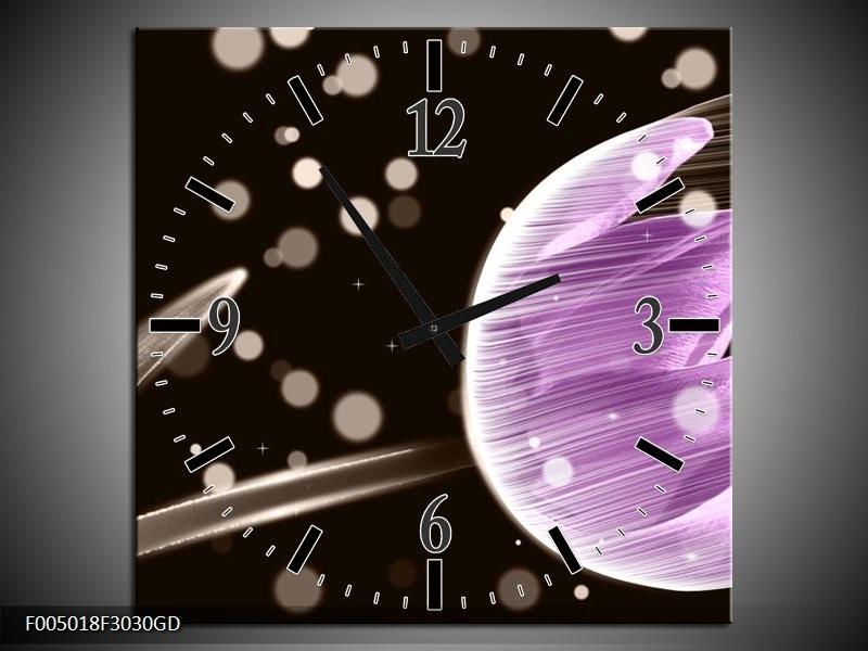 Wandklok op Glas Tulp | Kleur: Paars, Zwart | F005018CGD