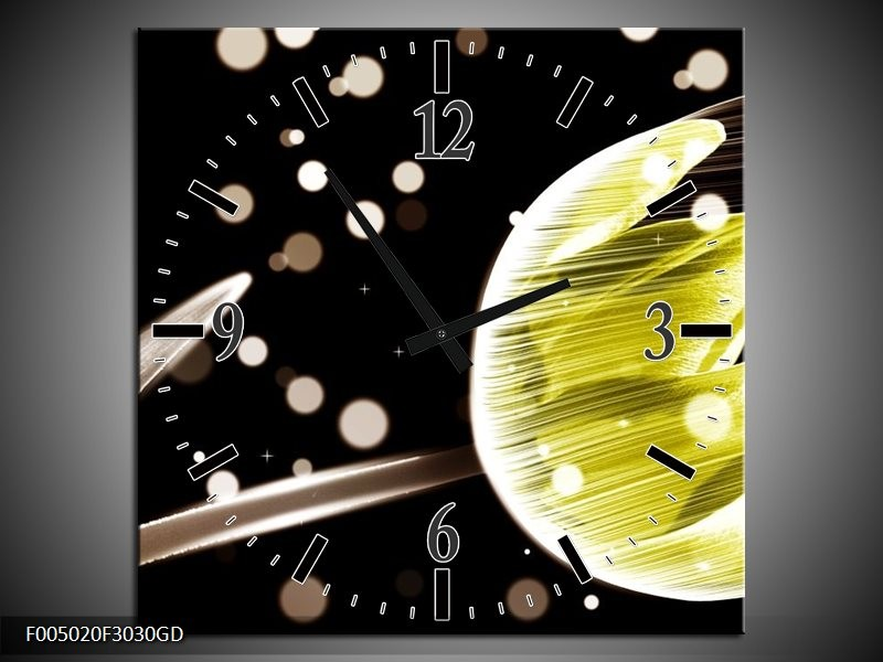Wandklok op Glas Tulp   Kleur: Zwart, Geel   F005020CGD