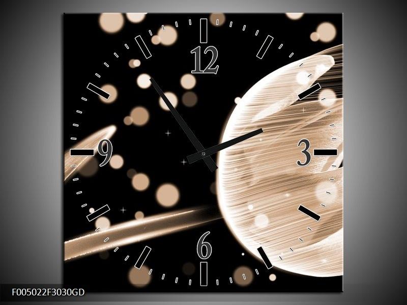 Wandklok op Glas Tulp   Kleur: Bruin, Zwart   F005022CGD