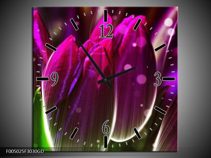 Wandklok op Glas Tulp | Kleur: Paars, Groen | F005025CGD