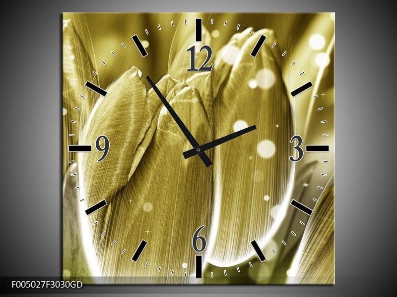 Wandklok op Glas Tulp | Kleur: Goud, Wit | F005027CGD