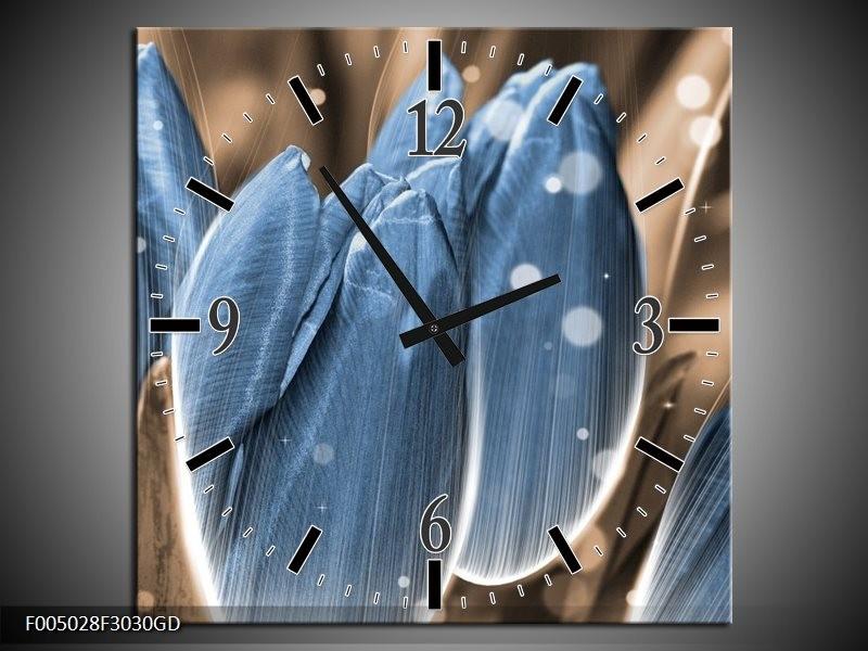Wandklok op Glas Tulp | Kleur: Blauw, Grijs | F005028CGD