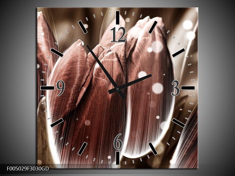 Wandklok op Glas Tulp | Kleur: Bruin, Wit | F005029CGD