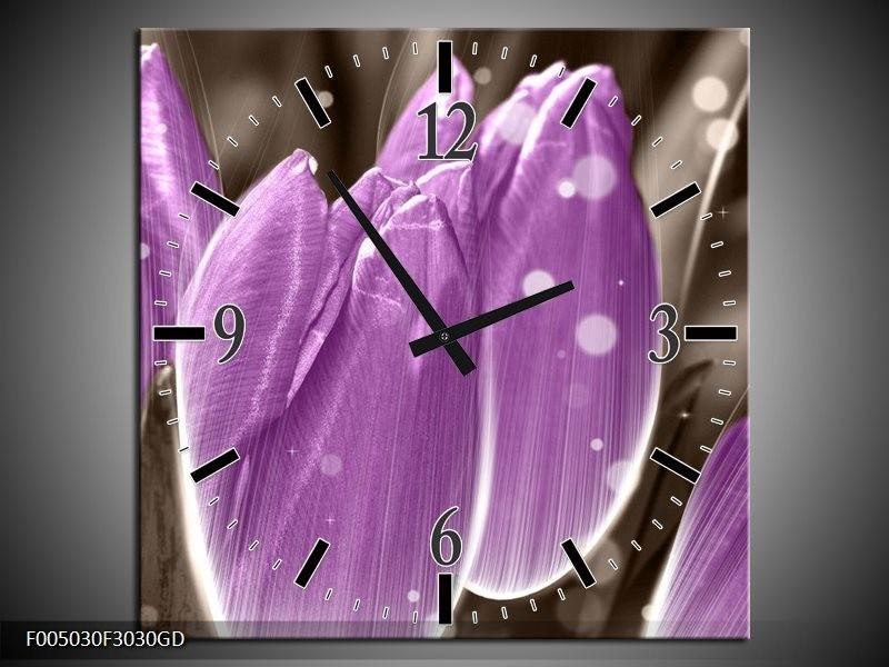 Wandklok op Glas Tulp | Kleur: Paars, Grijs | F005030CGD