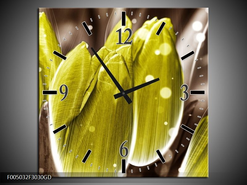 Wandklok op Glas Tulp   Kleur: Geel, Grijs   F005032CGD