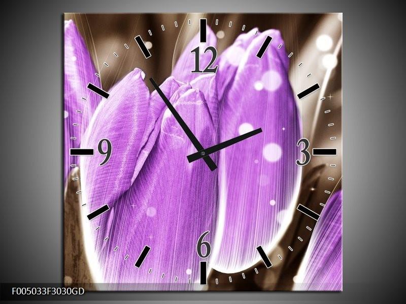 Wandklok op Glas Tulp | Kleur: Paars, Grijs | F005033CGD