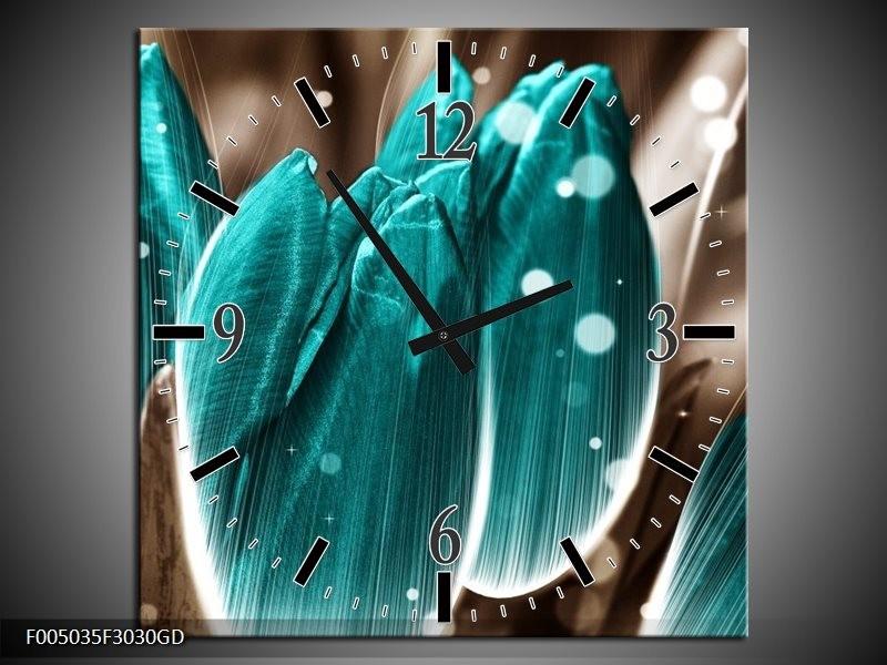 Wandklok op Glas Tulp | Kleur: Blauw, Grijs | F005035CGD