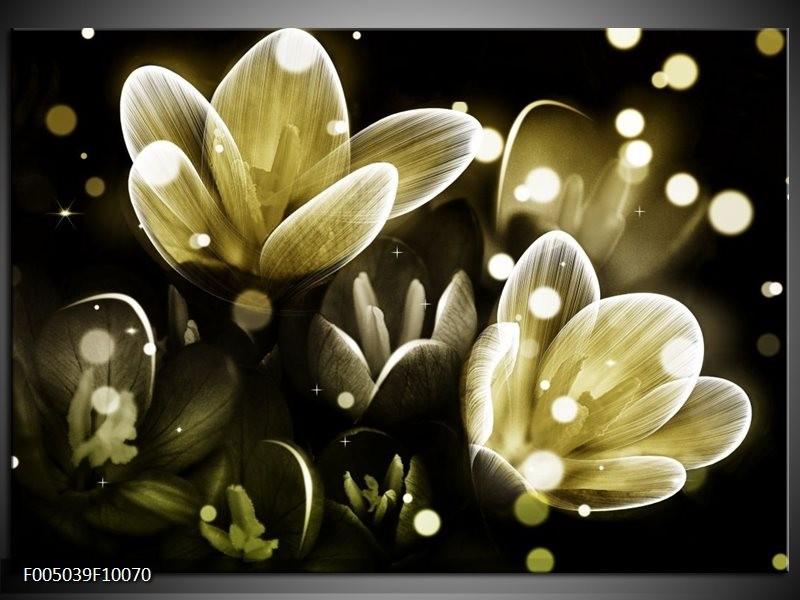 Glas schilderij Bloem | Geel, Groen