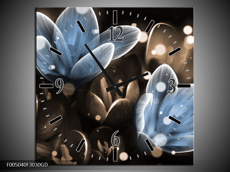 Wandklok op Glas Bloem | Kleur: Blauw, Grijs | F005040CGD