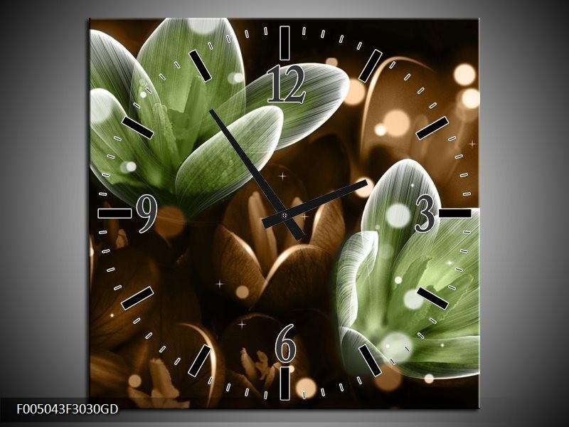 Wandklok op Glas Bloem | Kleur: Groen, Bruin | F005043CGD
