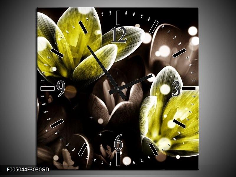 Wandklok op Glas Bloem | Kleur: Geel, Grijs | F005044CGD