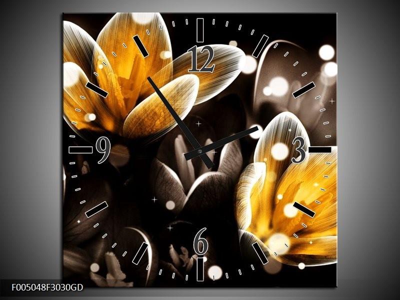 Wandklok op Glas Bloem | Kleur: Geel, Zwart | F005048CGD