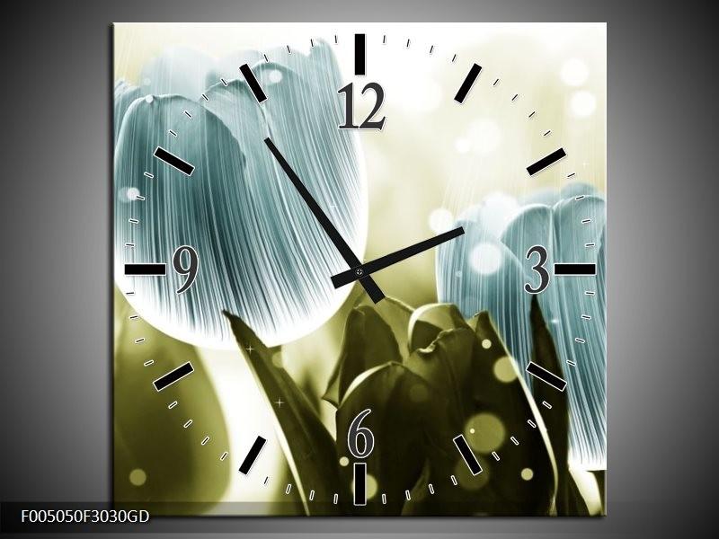 Wandklok op Glas Tulp | Kleur: Blauw, Groen | F005050CGD
