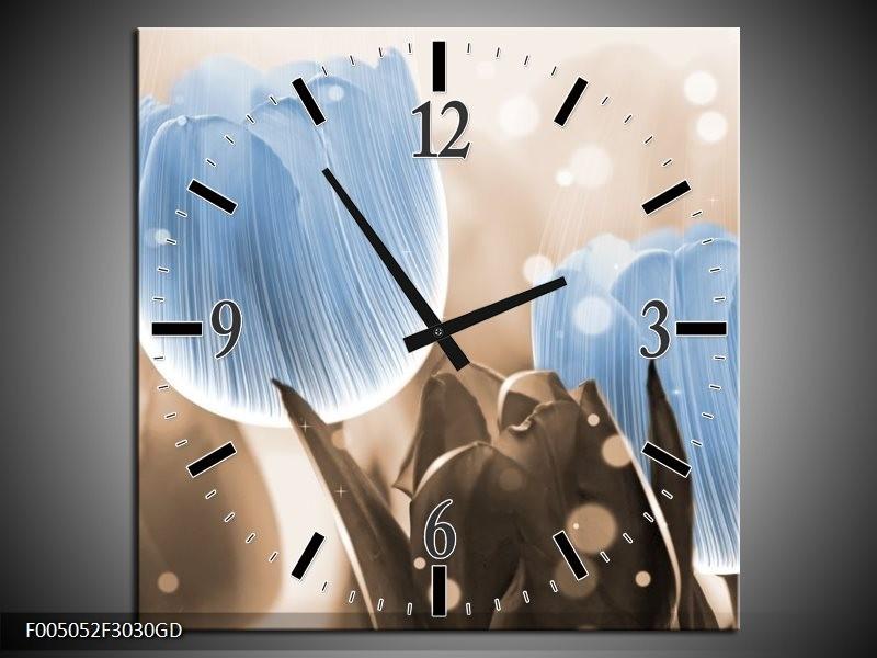 Wandklok op Glas Tulp   Kleur: Blauw, Grijs   F005052CGD
