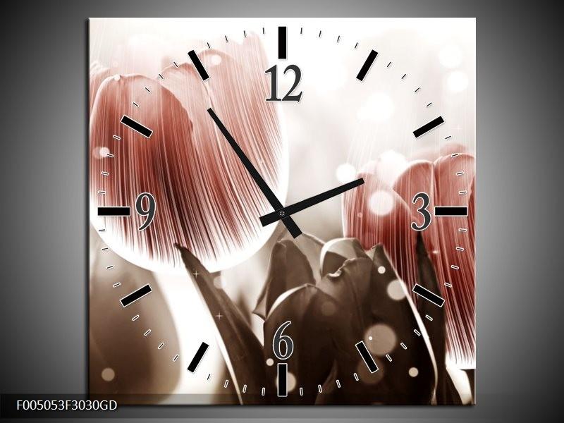 Wandklok op Glas Tulp | Kleur: Bruin, Grijs | F005053CGD