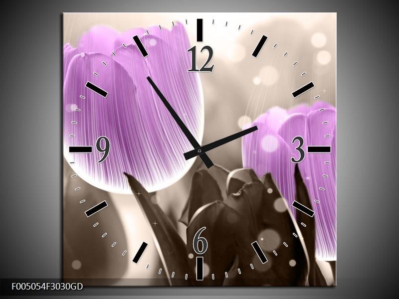 Wandklok op Glas Tulp | Kleur: Paars, Grijs | F005054CGD