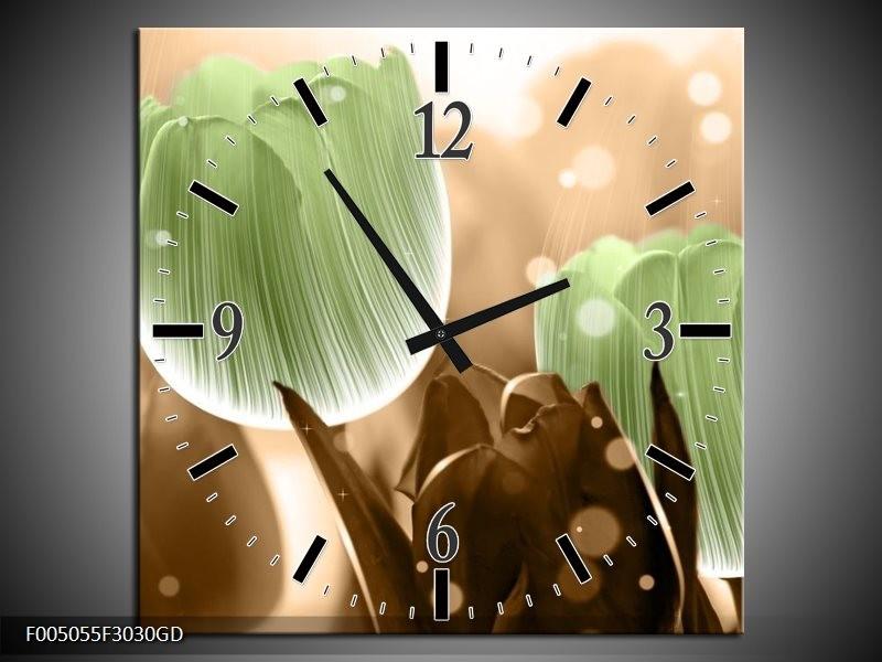 Wandklok op Glas Tulp | Kleur: Groen, Bruin | F005055CGD
