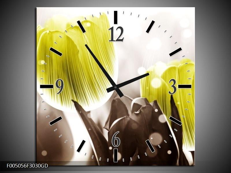 Wandklok op Glas Tulp | Kleur: Geel, Grijs | F005056CGD