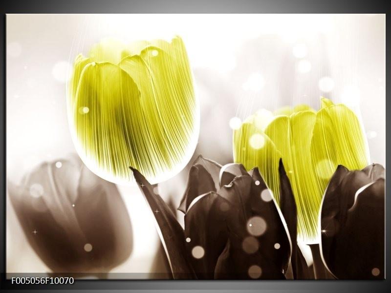 Glas schilderij Tulp | Geel, Grijs