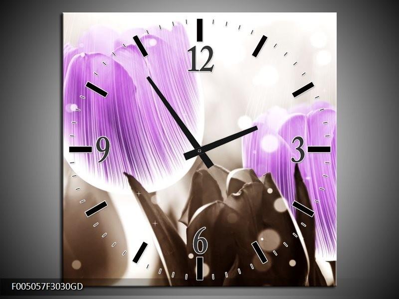 Wandklok op Glas Tulp | Kleur: Paars, Grijs | F005057CGD