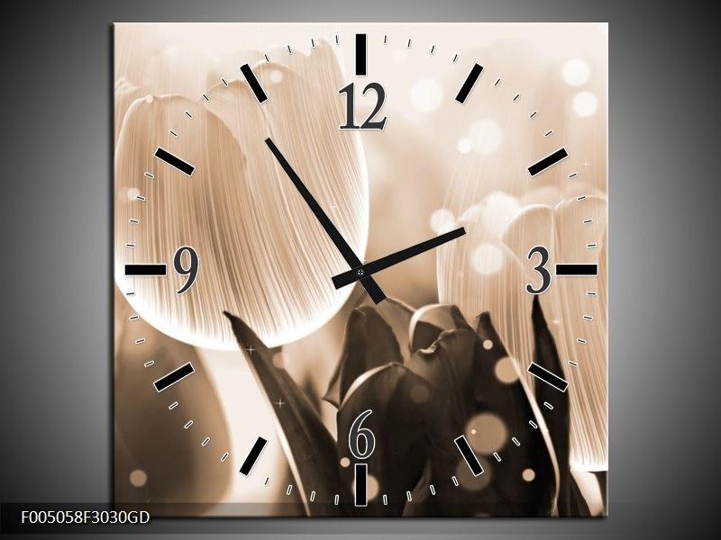 Wandklok op Glas Tulp | Kleur: Grijs, Bruin, Zwart | F005058CGD