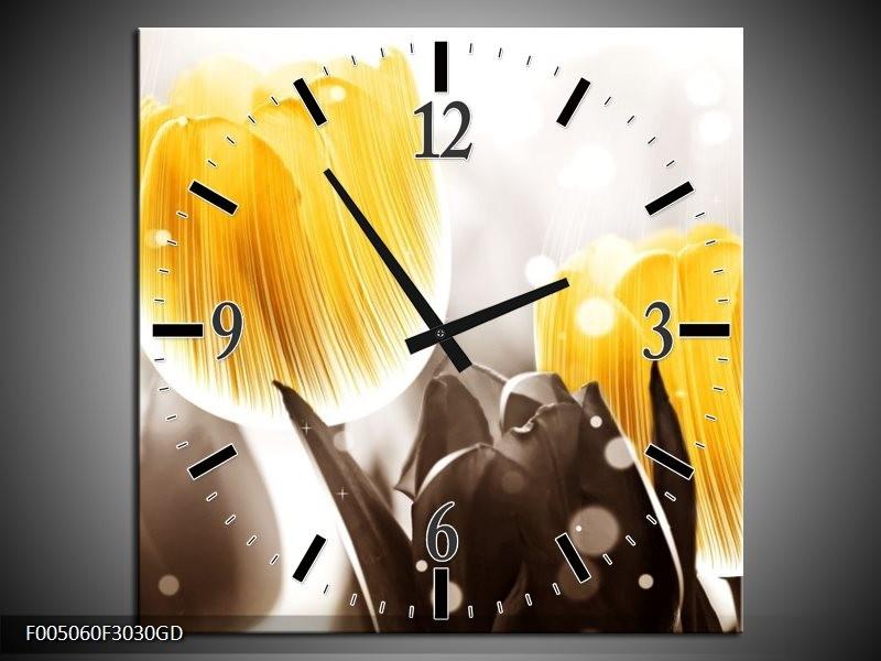 Wandklok op Glas Tulp | Kleur: Geel, Grijs | F005060CGD
