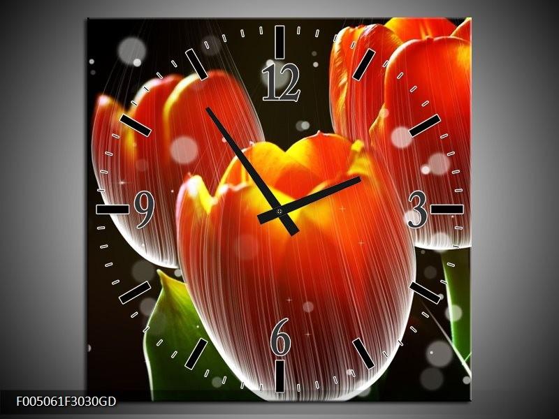 Wandklok op Glas Tulp | Kleur: Rood, Geel, Zwart | F005061CGD