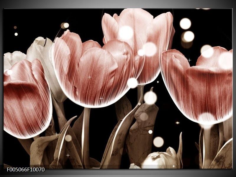 Glas schilderij Tulp | Bruin, Zwart