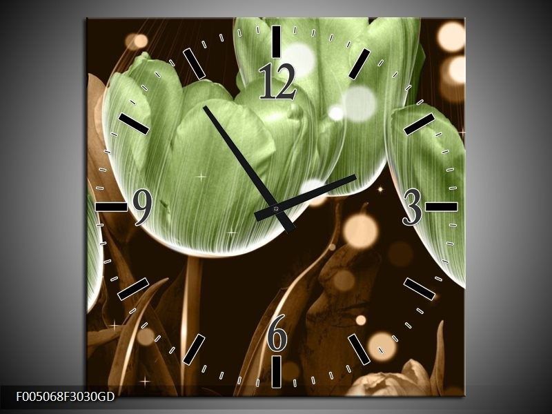 Wandklok op Glas Tulp | Kleur: Groen, Bruin | F005068CGD