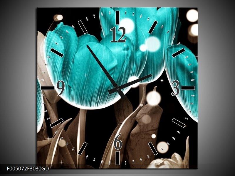 Wandklok op Glas Tulp | Kleur: Blauw, Grijs | F005072CGD