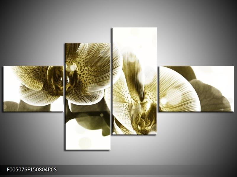 Canvas schilderij Orchidee | Grijs, Wit | 150x80cm 4Luik