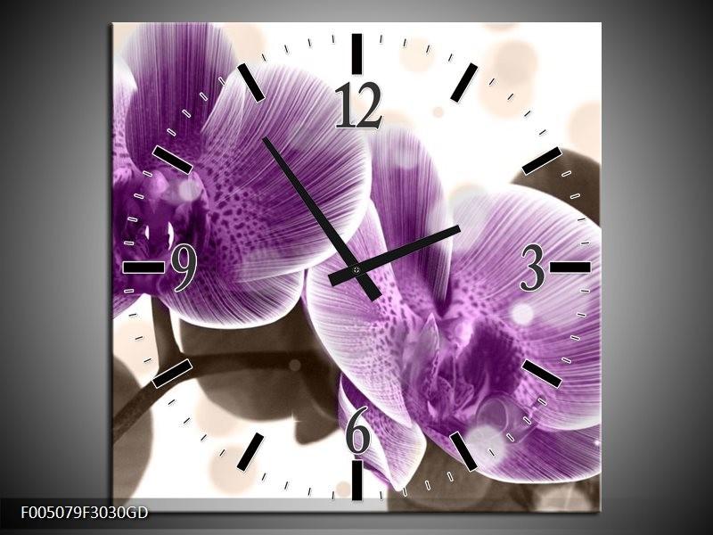Wandklok op Glas Orchidee | Kleur: Paars, Wit | F005079CGD