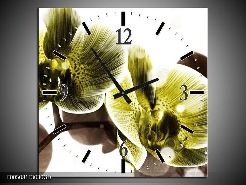 Wandklok op Glas Orchidee   Kleur: Geel, Grijs   F005081CGD