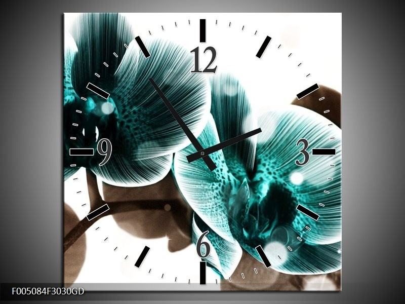Wandklok op Glas Orchidee   Kleur: Groen, Wit   F005084CGD