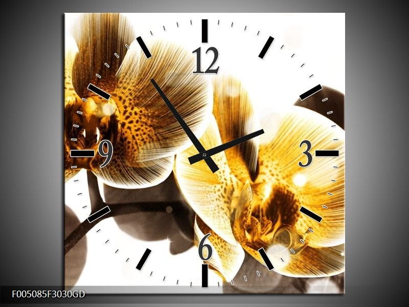 Wandklok op Glas Orchidee   Kleur: Geel, Bruin, Wit   F005085CGD
