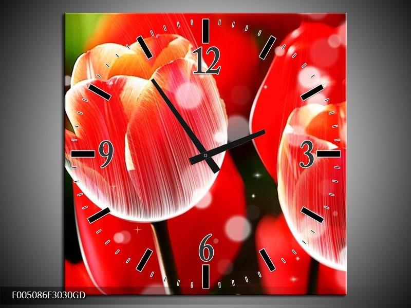 Wandklok op Glas Tulp | Kleur: Rood, Wit | F005086CGD