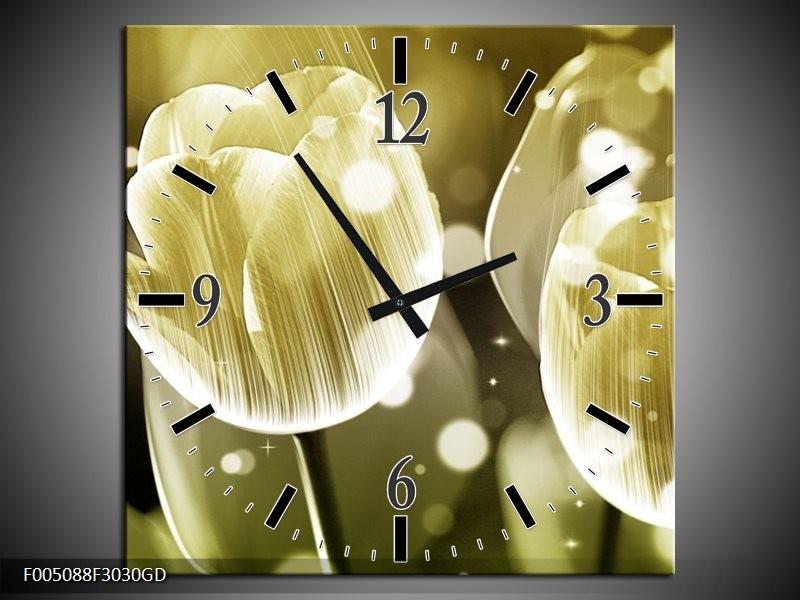 Wandklok op Glas Tulp | Kleur: Wit, Grijs | F005088CGD