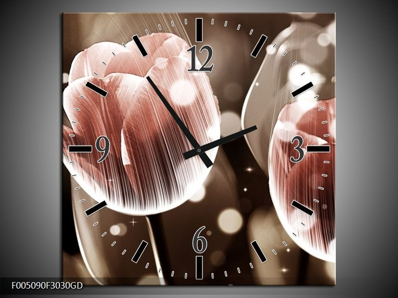 Wandklok op Glas Tulp | Kleur: Bruin, Grijs | F005090CGD