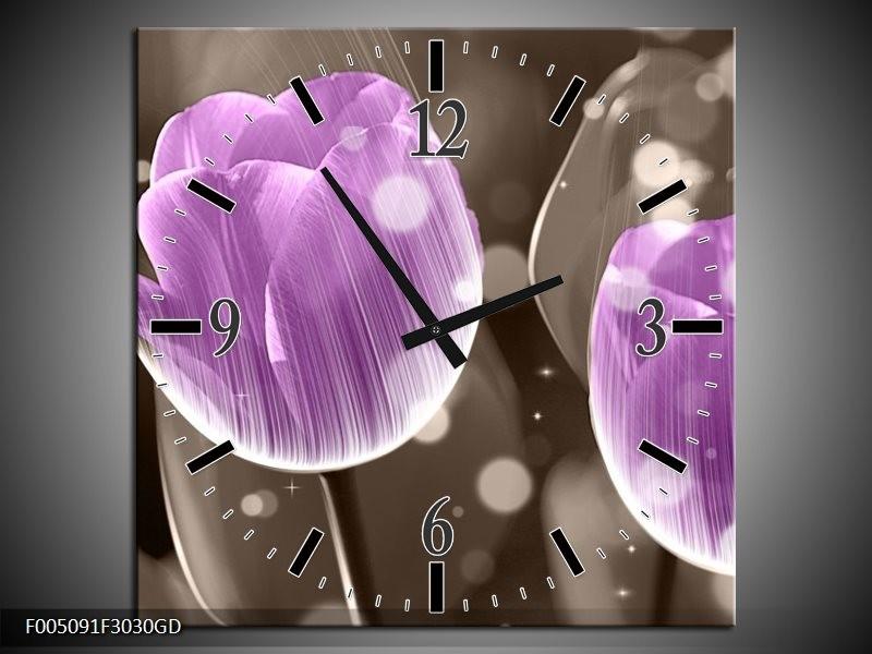 Wandklok op Glas Tulp | Kleur: Paars, Grijs | F005091CGD