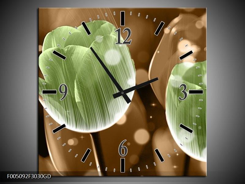 Wandklok op Glas Tulp   Kleur: Groen, Bruin   F005092CGD