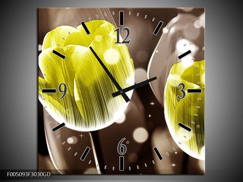 Wandklok op Glas Tulp | Kleur: Geel, Grijs | F005093CGD