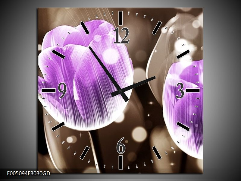 Wandklok op Glas Tulp | Kleur: Paars, Grijs | F005094CGD