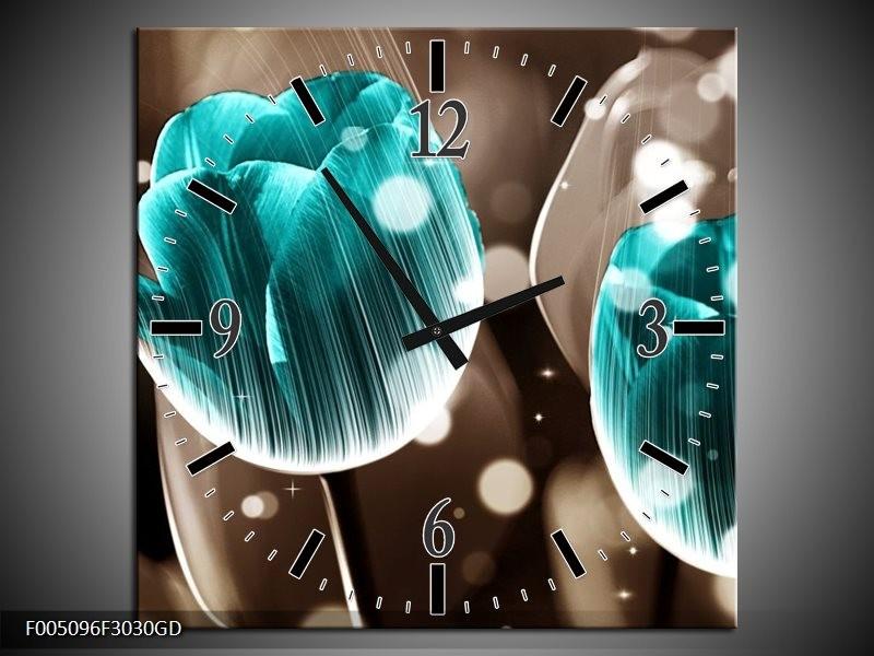 Wandklok op Glas Tulp | Kleur: Blauw, Grijs | F005096CGD