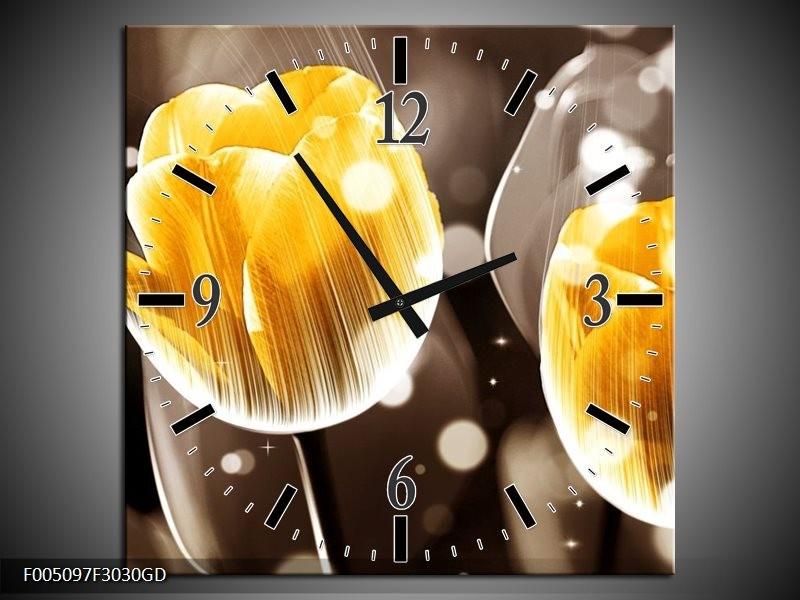 Wandklok op Glas Tulp | Kleur: Geel, Oranje, Bruin | F005097CGD