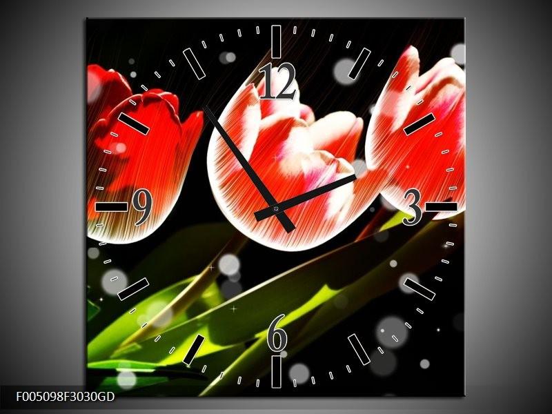 Wandklok op Glas Tulp   Kleur: Rood, Groen, Zwart   F005098CGD