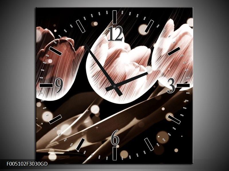 Wandklok op Glas Tulp | Kleur: Wit, Grijs | F005102CGD