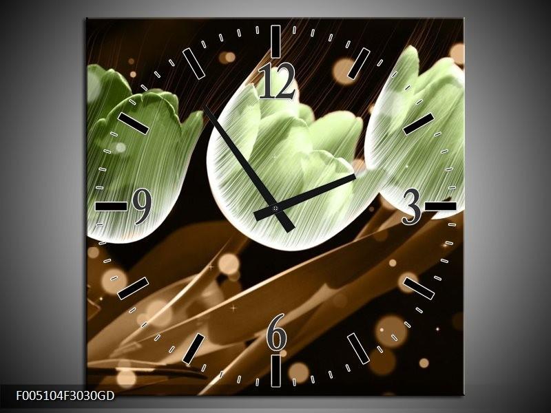 Wandklok op Glas Tulp   Kleur: Bruin, Groen   F005104CGD